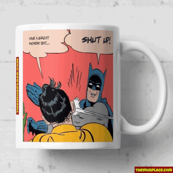 Batman slapping Robin mug