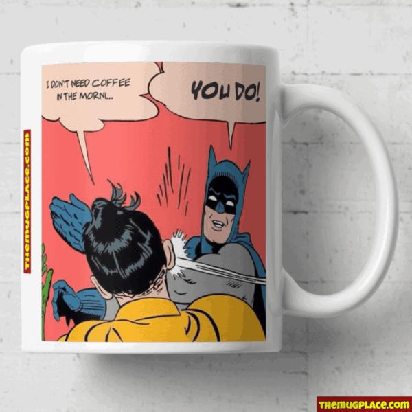 Batman smacking robin mug