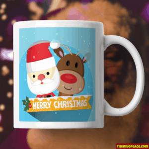 Santa and Rudolf mug